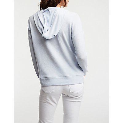 Brushed Knit Hoodie Top