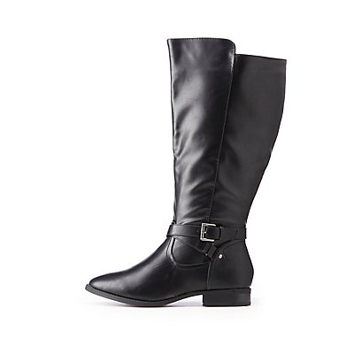 Wide Faux Leather Riding Boots
