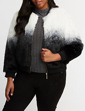 Plus Size Striped Faux Fur Jacket