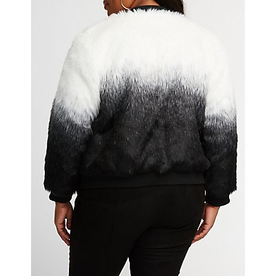 Plus Size Striped Faux Fur Jacket