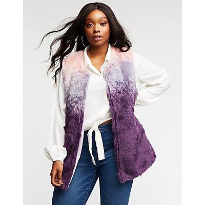 Plus Size Faux Fur Longline Vest