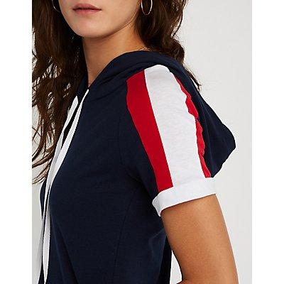 Sleeve Striped Crop Hoodie
