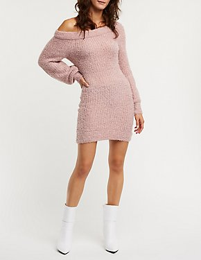 Fuzzy Off The Shoulder Sweater Dress