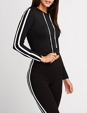 Striped Sleeve Crop Hoodie