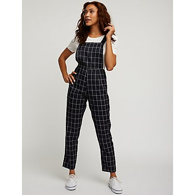 Windowpane Straight Leg Jumpsuit