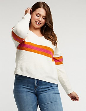 Plus Size Chest Stripe Pullover Sweater