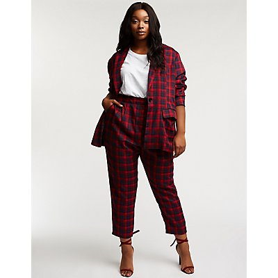 Plus Size Plaid Trousers