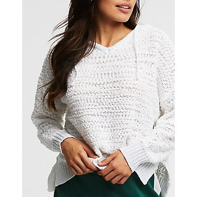 Textured Knit Hooded Pullover Sweater