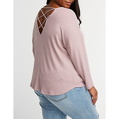 Plus Size Waffle Caged Back Top