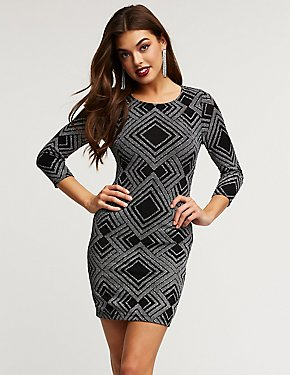 Glitter Geometric Print Bodycon Dress