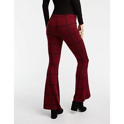 Windowpane Knit Flare Pants