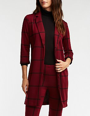 Windowpane Knit Duster