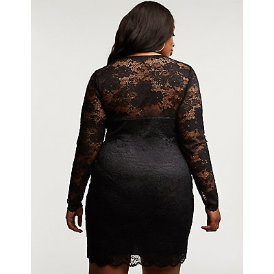 Plus Size Floral Lace Bodycon Dress