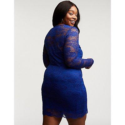 Plus Size Floral Lace Bodycon Dress