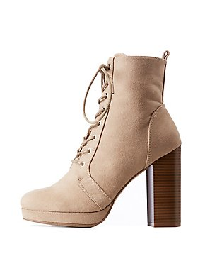 Faux Suede Lace Up Ankle Booties