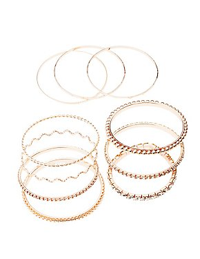 Crystal & Textured Bangles - 9 Pack