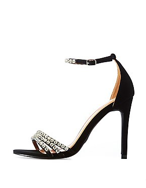 Crystal Ankle Strap Stiletto Sandals