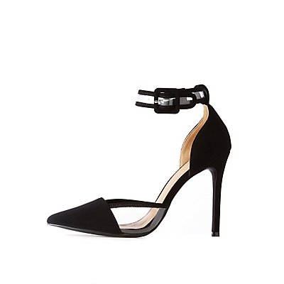 Pointed Toe &Amp; Pvc Trim Stiletto Sandals by Charlotte Russe