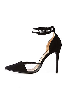 Pointed Toe & PVC-Trim Stiletto Sandals