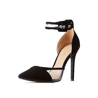 Pointed Toe & PVC-Trim Stiletto Sandals