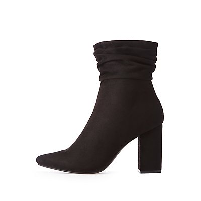 Ruched Pointed Toe Booties