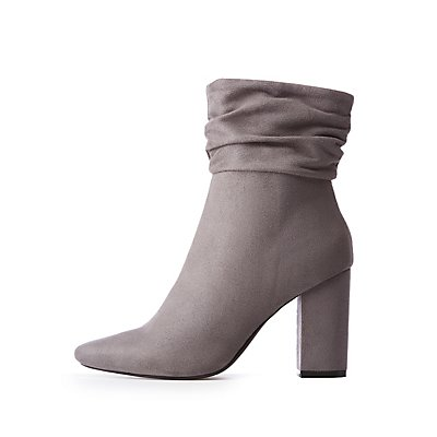 Ruched Pointed Toe Booties by Charlotte Russe