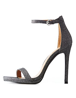 Glitter Ankle Strap Stiletto Sandals