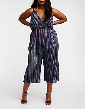 Plus Size Glitter Rainbow Stripe Jumpsuit