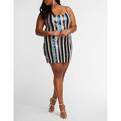 Plus Size Striped Sequin Bodycon Dress