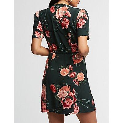 Floral Asymmetrical Button Up Dress