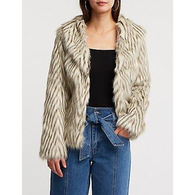 Faux Fur Collared Coat
