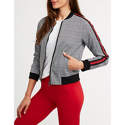 Plaid Striped Sleeve Bomber Jacket