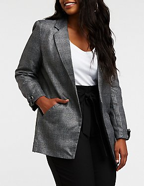 Plus Size Metallic Plaid Open Front Blazer