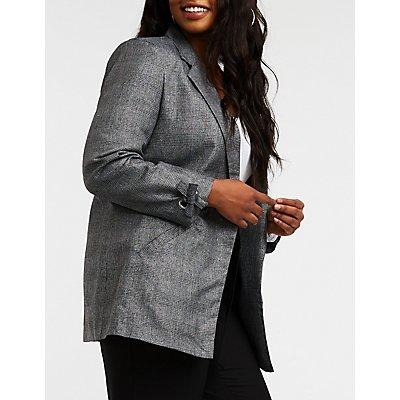 Plus Size Metallic Plaid Open Front Blazer
