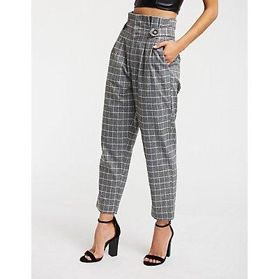 Pleated Windowpane Trousers