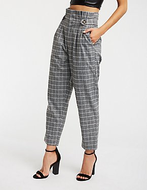 Pleated Windowpane Trousers