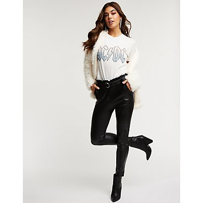Faux Leather Belted Trousers