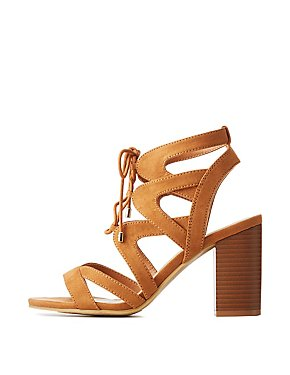 Faux Suede Lace Up Sandals