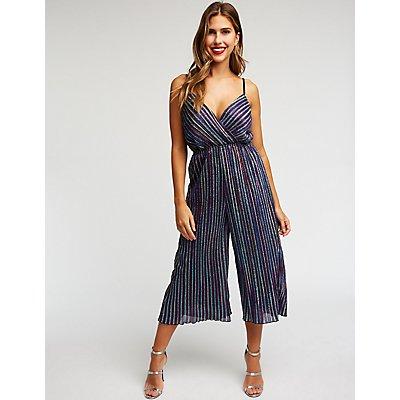 Wrap Striped Glitter Jumpsuit