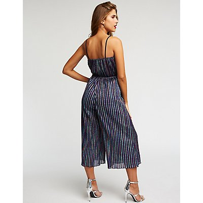 Wrap Striped Glitter Jumpsuit