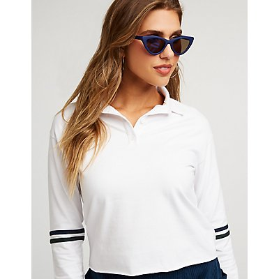 Striped Sleeve Crop Polo