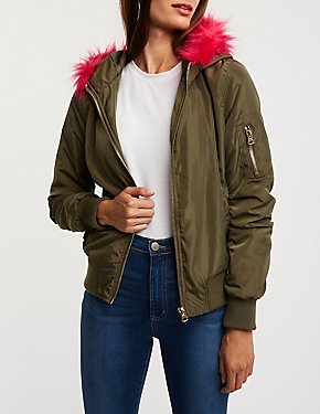 Faux Fur Lined Bomber Jacket