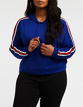 Plus Size Striped Sleeve Crop Hoodie