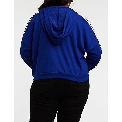 Plus Size Striped Sleeve Crop Hoodie