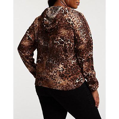 Plus Size Leopard Cropped Hoodie