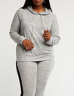 Plus Size Knit Drawstring Hoodie