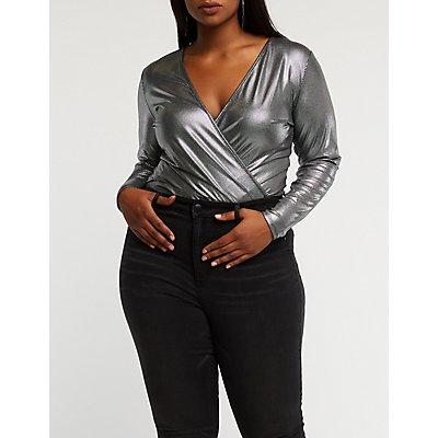 Plus Size Metallic Faux Wrap Bodysuit