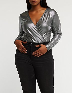 Plus Size Metallic Faux Wrap Bodysuit