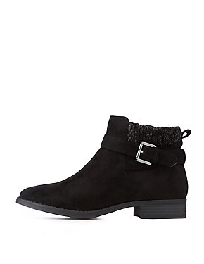 Faux Suede Knit Trim Ankle Booties