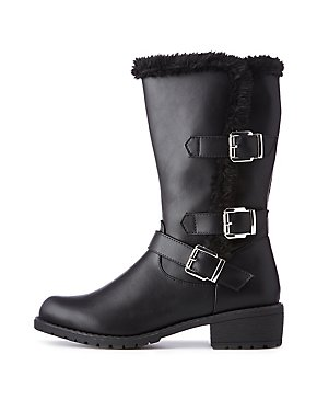 Faux Fur Trimmed Buckle Detailed Boots